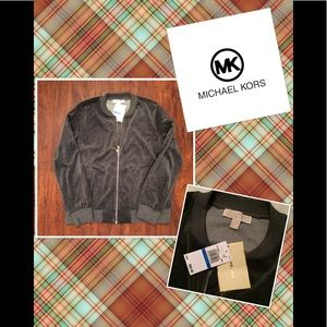 Michael Kors velour zip up sweatshirt NWT Sz XL